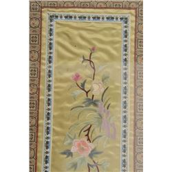 """17FU-31 CHINESE TAPESTRY CIRCA 1940sFramed Chinese tapestry, approximately 20"""" x   11"""" overall; ca."""