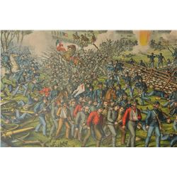 "18QL-34 1864 CIVIL WAR PRINTFramed and matted color print entitled ""The  Battle of Gettysburg""; appr"