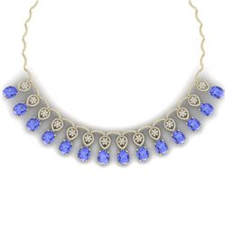 57.56 CTW Royalty Tanzanite & VS Diamond Necklace 18K White Gold - REF-1597K3R - 39069