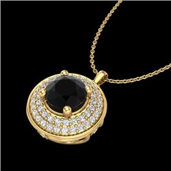1.25 CTW Fancy Black Diamond Solitaire Art Deco Stud Necklace 18K Yellow Gold - REF-83M6F - 38138