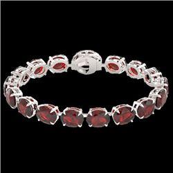 65 CTW Garnet & Micro Pave VS/SI Diamond Halo Designer Bracelet 14K White Gold - REF-233F3M - 22260