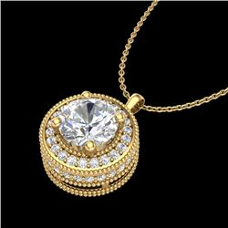 1.25 CTW VS/SI Diamond Solitaire Art Deco Necklace 18K Yellow Gold - REF-218N2Y - 37144