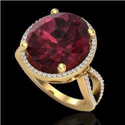10 CTW Garnet & Micro Pave VS/SI Diamond Certified Halo Ring 18K Yellow Gold - REF-80T2X - 20964