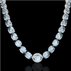 177 CTW Sky Blue Topaz & VS/SI Diamond Halo Micro Pave Necklace 14K White Gold - REF-473F3M - 22320