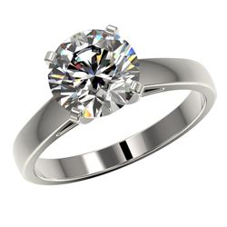 2.55 CTW Certified G-Si Quality Diamond Solitaire Ring 10K White Gold - REF-854M2F - 36560