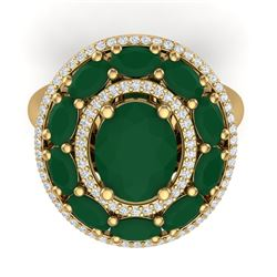 8.05 CTW Royalty Designer Emerald & VS Diamond Ring 18K Yellow Gold - REF-143R6K - 39239