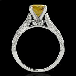 1.21 CTW Certified Si Intense Yellow Diamond Solitaire Antique Ring 10K White Gold - REF-161N8Y - 34