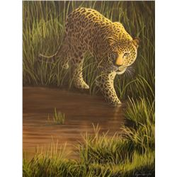 "Ryan Perry Original Art  ""Leopard at the Water"""