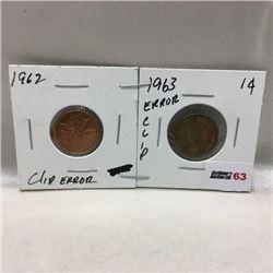 Canada One Cent (2) Clip Errors