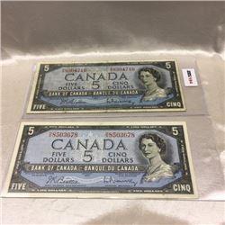 Canada $5 Bill 1954 (2)