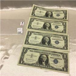 USA $1 Bills (4) 1957