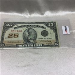 "Canada Twenty Five Cent ""Shinplaster"""