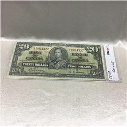 Canada $20 Bill 1937