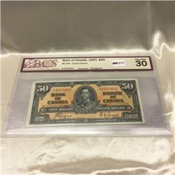 Canada $50 Bill 1937 (BCS Certified VF)