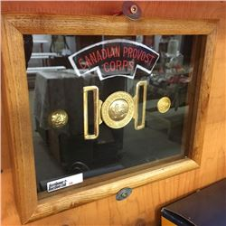 LOT28: Framed Canadian Provost Corps (Buckle, Badge & Buttons)