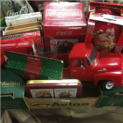 LOT33: Box Lot: Variety Coca-Cola Collectibles & Die Cast Ford Truck