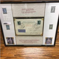 LOT51: Framed : 1937 Hitler's 48th Birthday Special Souvenir Stamp/Postage