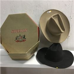 LOT64: 2 Cowboy Hats & Empty Stetson Box