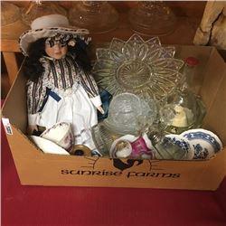 LOT70: Box Lot : Doll & Variety Glassware/China & Ballerina Musical Decanter