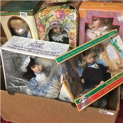 LOT72: Box Lot: Porcelain Dolls (6) & Doll Holders