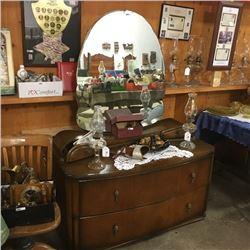 LOT80: 2 Drawer Dresser with Bevelled Mirror & 2 Trinket Drawers
