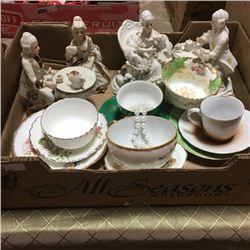 LOT96: Tray Lot: Victorian Ornaments & Tea Cups/Saucers