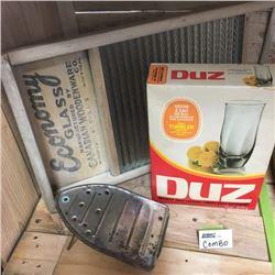 LOT119: Economy Glass Washboard, Trivet, Duz Soap Box