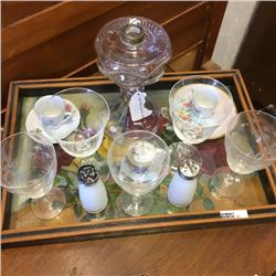 LOT181: Serving Tray Lot with Bulls Eye Coal Oil Lamp Base, Cups & Saucers, Shaker