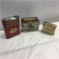 LOT201: Forest & Stream Pipe Tobacco Tin, Repeater Tobacco Tin & Lighter