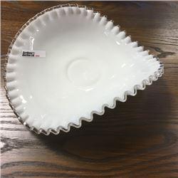 LOT264: Fenton Crimped Rim Milk Glass Banana Bowl