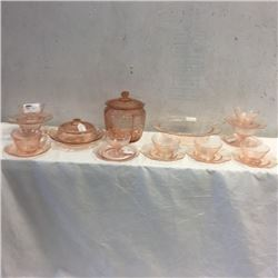 LOT265: Large Collection of Pink Depression Glass