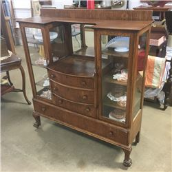 LOT272: Double China Curio & Buffet w/Bevelled Mirror !