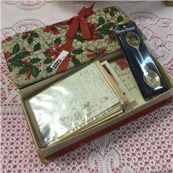 LOT279: Ribboned Box w/Old Letters & Envelopes + Elvis Presley Spoon