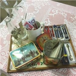 LOT281: Tray Lot: Collector Spoons, Tins, Coal Oil Lamp, etc