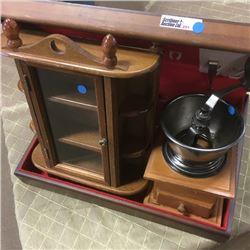 LOT291: Silverware, Small Curio Cabinet & Coffee Grinder
