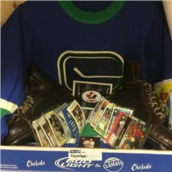 LOT302: Hockey Combo: 1974 Vancouver Canuks Jersey, Vintage Skates, Collector Wrappers & Hockey Card