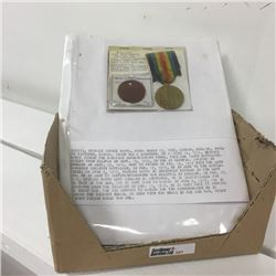 """LOT307: 44 Canadian Infantry """"Victory Medal"""" & Dog Tag """"Private Arthur Watts"""" & Attestation Papers"""