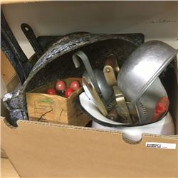 LOT336: Box Lot: Graniteware, Enamel Pitcher, Kitchen Utensils, etc