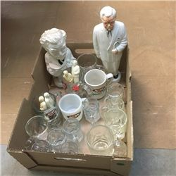 LOT343: Box Lot: A&W Mugs/Cups & KFC Coin Banks & KFC S&P