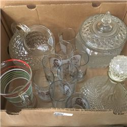LOT345: Box Lot: Cookie Jar, Pitchers, Decanter, Norman Rockwell Tumblers