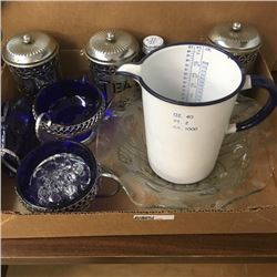 LOT346: Tray Lot: Blue/White Enamelware Measure Pitcher, Cobalt Blue Canisters, Coin Bank, etc