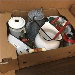 LOT348: Box Lot: Enamelware, Insulators, Ricer, Variety Kitchen Utensils
