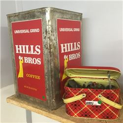 LOT353: Combo: Hills Bros Tin & Lunch Kit w/Pencil Sharpener Collection