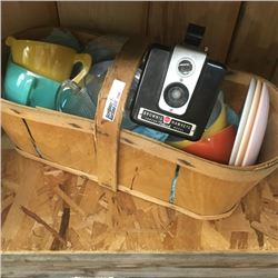 LOT356: Basket with Colored Cups & Hawkeye Brownie Camera