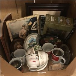 LOT387: Box Lot: Pictures, China, Collector Plates, etc