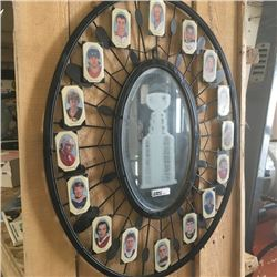 LOT389: Hockey Mirror Etched With Stanley Cup & 16 Champ's Mini's
