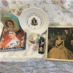 LOT402: Shelf Lot: QEII Collectibles (Tin, Plate, Spoon, Picture, Cup, Magazine)