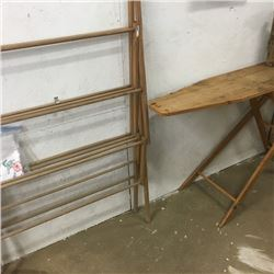 LOT413: Wooden Ironing Board & Clothes Dryer Rack & Pillow Cases/Doilies
