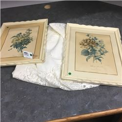 LOT414: Framed Floral Pics w/Table Cloth