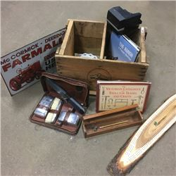 LOT440: Wooden Calgary Beverages Crate w/Books, Crib Board, Polaroid Camera, Tin Sign, etc